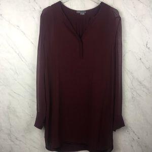 Vince Burgundy Sheer Sleeve Shift Dress, Size 8